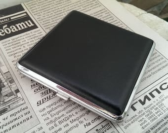 Vintage Black Leather Cigarette Case, Double Sided, Unused Condition, Accessory for Smokers