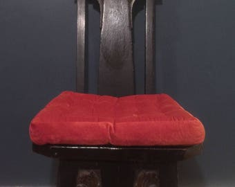 Unusual High Back Carved Oak Chair
