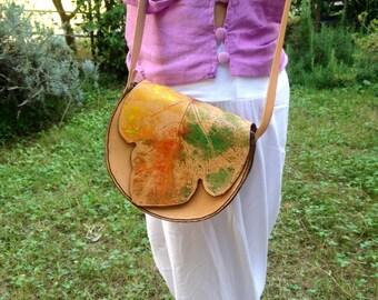 Leather bag, shoulder bag, ladies handbag, bag, leaf, round, hand-painted, handcrafted, unique gift idea for her