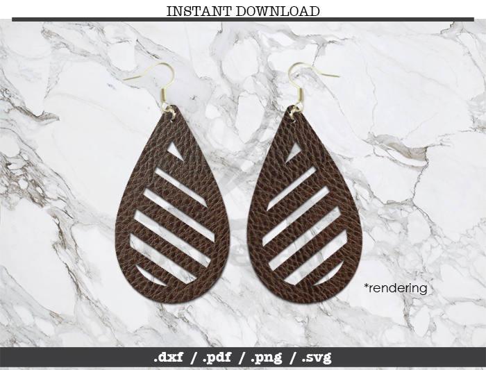tear drop cut file earrings leather jewelry making svg