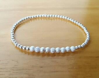 Silver bracelet, silver jewellery, silver stretchy bracelet, silver elastic bracelet, simple jewellery, dainty jewellery, gifts for women