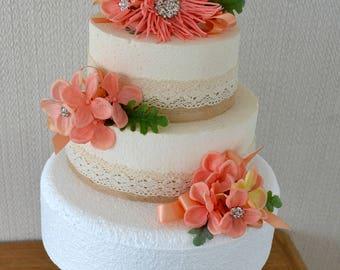 Wedding cake topper. 3 tier.Coral.Salmon Pink.Diamante.