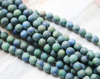 6mm Azurite Beads, Azurite Beads, 6mm Beads, 6mm Round Beads, Blue Beads, Green Beads, Multicolored Beads, 6mm Bracelet Beads,  GS066