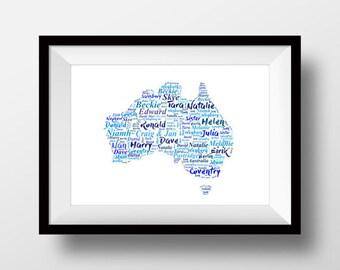 Australia artwork, Australia  print, Australia present, Australia gift, Australia drawing
