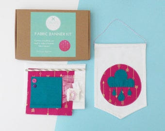 Arrowflight Pink, Gold and Teal Make-Your-Own Fabric Banner Craft Kit from Create! Craft Kits by Holchester and Simmonds