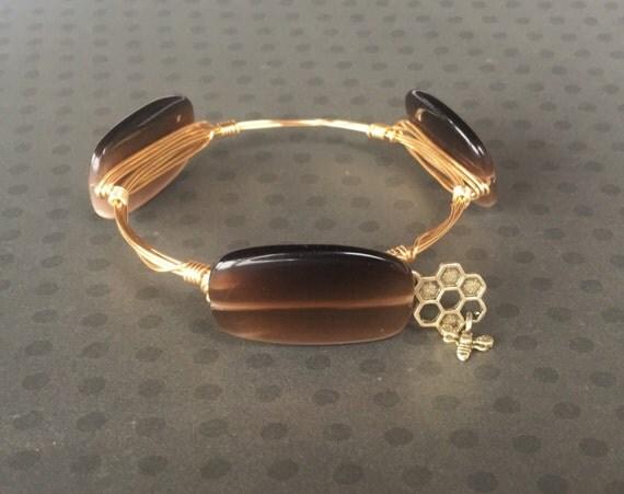 Clearance Sale, Brown bangle, Brown bangle bracelet, Wire wrapped bangle, handmade bangle, 3 stone bangle