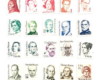 20 x Various Values UNused US Vintage 1985 Postage Stamps - Mixed - Making Up Postage - Famous Faces - 2 cents - photo styling, scrapbooking