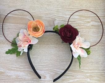 Spring Sweet Peach Ears, Mickey Mouse ears, Minnie Mouse Ears, floral wire ears, floral ears, Disney ears