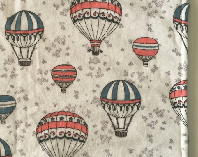 Hot air balloon steel grey minky blanket