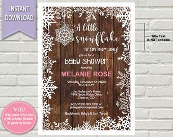 Snowflake Shower Invitation, Winter Baby shower, Baby shower, Baby Shower Invite, Shower Invitation, Snowflake, Snowflake Invitation,
