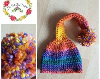 Rainbow Hat: Newborn Hat- Photography Prop- Pom Pom Hat- Colourful- Rainbow- Longtailed Hat- Photo Prop- Rainbow Baby- Rainbow Baby Hat-Baby