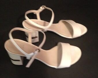 Vintage Stuart Weitzman white patent women sandals