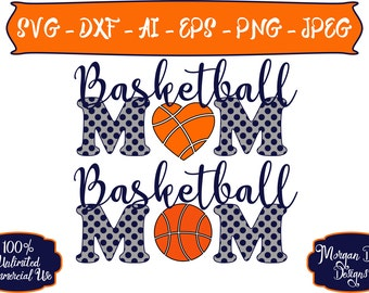 Basketball Mom SVG - Personalized Basketball SVG - Basketball SVG - Sports Mom svg - Files for Silhouette Studio/Cricut Design Space