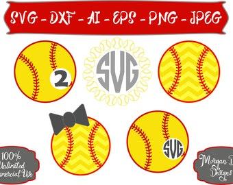 Softball Monogram SVG - Chevron Softball SVG - Softball SVG - Sports svg - Sports Mom svg - Files for Silhouette Studio/Cricut Design Space