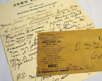 1887 Handwritten Letter and Envelope from Pension, Bounty & Claim Agent Ephemera