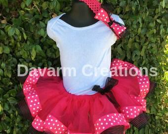 Tutu and Bow Birthday Girl Party Birthday Tutu Minnie Mouse Tutu Birthday Girl Polka Dot Tutu Minnie Mouse Skirt Baby Skirt Birthday