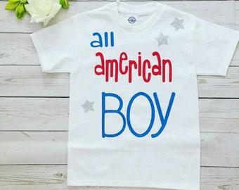 Patriotic 4 th of July Boy Tshirt , made to order all american Boy Tshirt