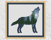 Wolf cross stitch pattern, modern forest counted cross stitch, silhouette, night, moon, astronomy, winter, downloadable, printable PDF chart