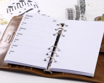 Calendar deposits 2018 Personal 1 week + blank 1W1S-Planner inserts Personal 1 week + blank 1W1P 2018 Filofax 0303-pe-ka