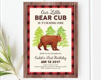 Bear Birthday Invitation, Bear Invitation, Little Cub, Bear Birthday, Grizzly Bear Invitation, Bear Invite, Boy Birthday Invitation, Invite