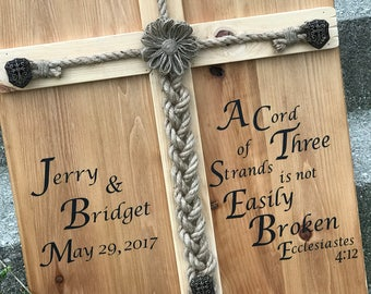 Personalized Rustic Wedding Alternative Unity Ceremony idea Jute Braided Rope wood Sign, A Cord of Three Strands idea