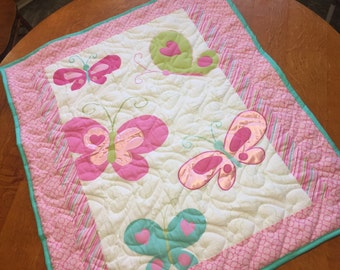 Quilted Butterfly Flannel Baby Blanket