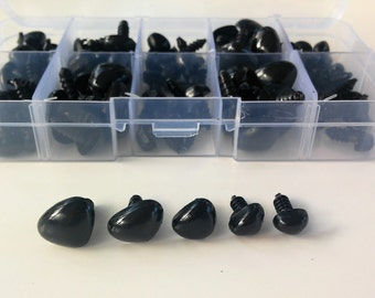 Box safety noses black (100 units) - BLACK Safety nose Box (100 units) - Amigurumi-Making doll-toys supplies - make dolls