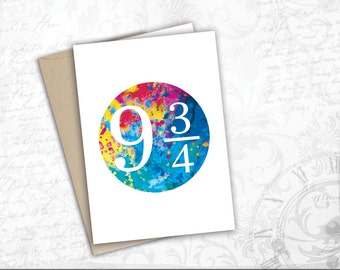 Platform 9 3/4 watercolor gift card harry potter hogwarts express nine and three quarters greeting card book lover gift movie