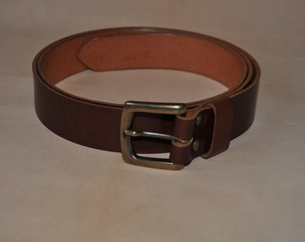 Belt of leather Brown with buckle square and PIN independent of 4 cm