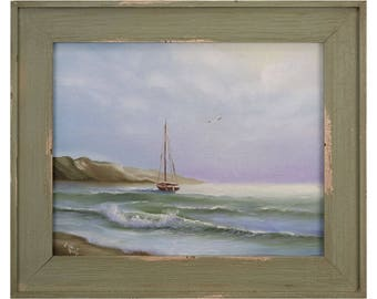 Framed Sailboat Painting, Coastal Landscape, Boat, Ship Painting, Fine Art, Gift for Him, Ocean Art, Seascape, Original Oil Painting