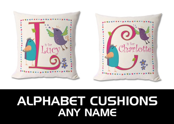 Personalised birds alphabet / initials / letter cushion. Any Letter / Any Name