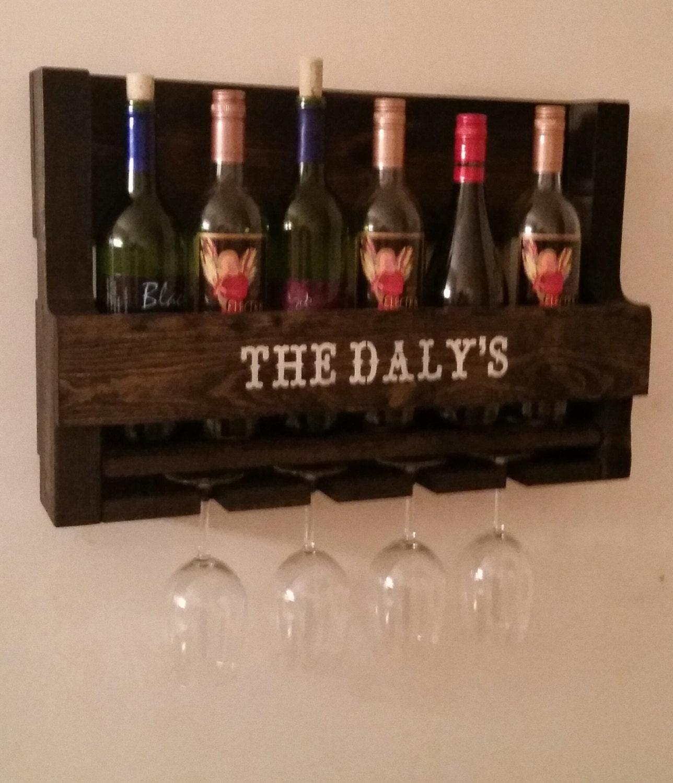 Man Cave Liquor Decor : Personalized wine rack pallet rustic