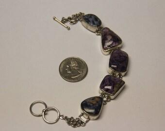 """Vintage sterling silver 8"""" charite/petersite bracelet baek"""