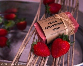 Homemade Strawberry Soap, Natural Soap Bar, natural bath product, organic skincare, natural bar soap, gift ideas, handcrafted soap