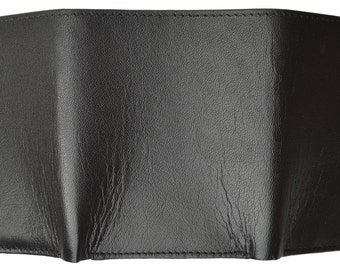 Men's Genuine Soft Leather Trifold Wallet Black And Brown P 1155