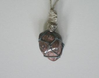 Leopardskin Jasper Jaguar Stone Hemp Necklace