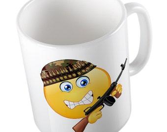Emoji Army Man mug