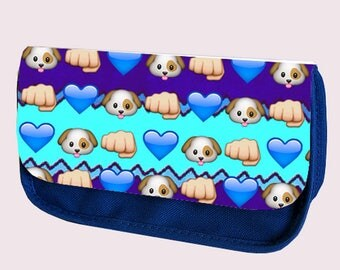 Emoji DOGS and HEARTS pencil case / Make-up bag