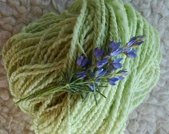 Organic merino wool. Handspun hand spinning wheel and with natural dye of Lupine flowers.