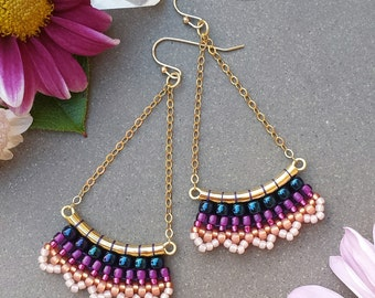 Sunset Boho Sway Earrings >> Made-To-Order >> Metallic Navy, Fuchsia, Cranberry, Peach Woven Seed Beads in Gold > Bohemian Beaded Earrings