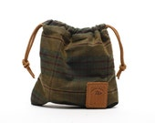 Waxed Canvas Golf Valuables Field Pouch in English Tartan personalized monogrammed