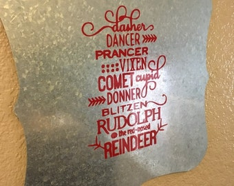 Reindeer Names Metal Sign