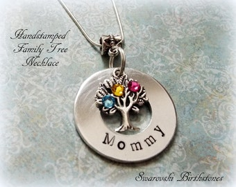 Family Tree Necklace, Handstamped Family Tree Jewelry, Birthstone Jewelry Gift for Mother, Gift for Mom, Mother's Day Personalized Gift