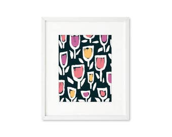 Tulip Field - single print, contemporary graphic floral, abstract botanical, modern, wall art, home décor