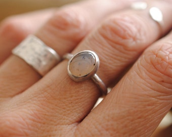 Moss Agate Stacker Ring | Size 6.25