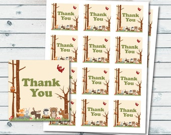 Woodland Thank You Favor Tags, Woodland Animals Baby Shower Favor Tags, Printable Baby Shower Woodland Favor Thank You Tag, Woodland Tags