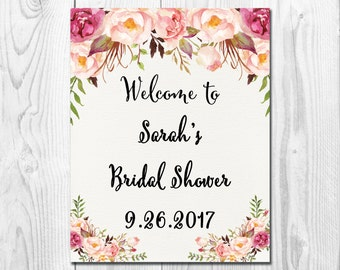 Bridal Shower Welcome Sign, Bridal Shower Sign,Bridal Shower Decoration,Welcome Wedding Sign,Pink  Bohemian Floral Sign,8X10 or 11X14, VD011