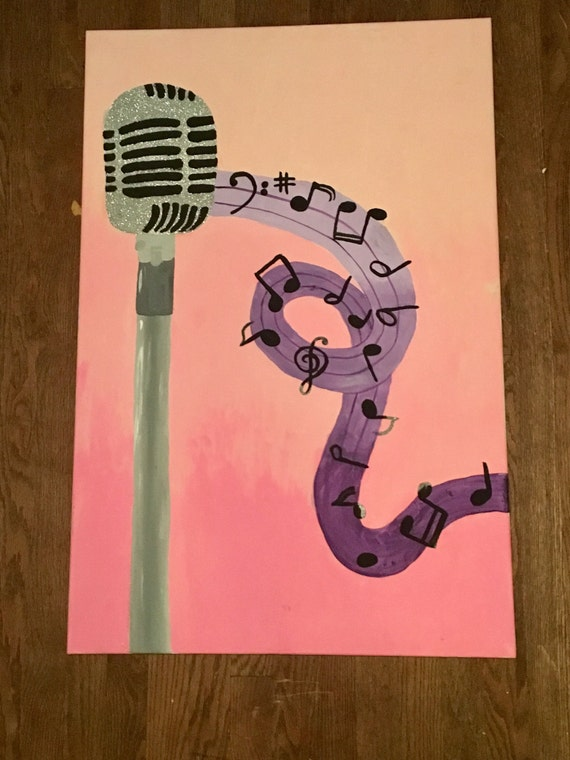 Microphone painting on 24 by 36 inch canvas
