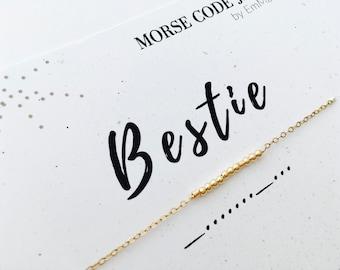 Bestie Morse Code Bracelet / Bestie Morse Code Necklace / Best Friend necklace / Best Friend Bracelet / Friendship Jewelry / Secret Message