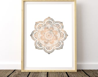Mandala Wall Art, Zen Decor, Zen Art, Watercolor Print, Mandala Stencil, Yoga Poster, Lotus Flower, Lotus Wall Decor, Lotus flower Print